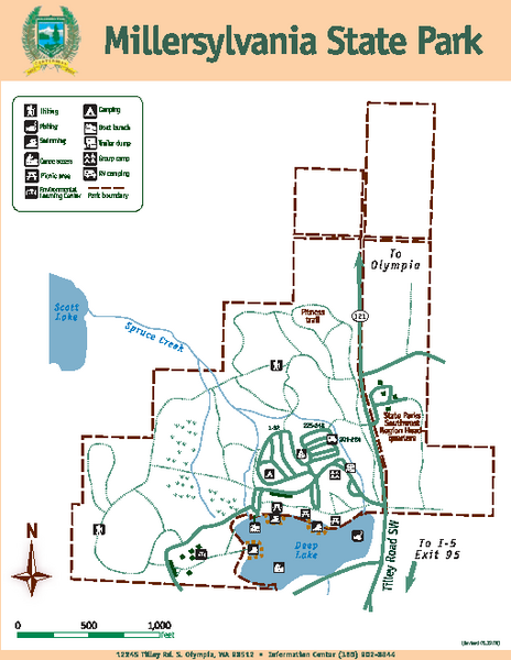 Millersylvania State Park Map 12245 Tilley Rd S Olympia