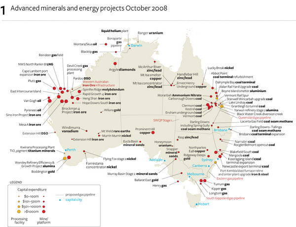 Minerals and Energies in Australia Map