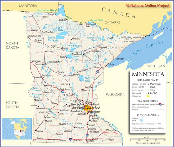 Minnesota Tourist Map - MInnesota • mappery