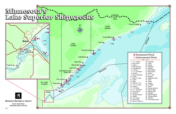 Minnesotas Lake Superior Shipwrecks Map Minnesota US Mappery - Minnesota on a us map