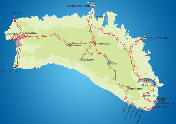Minorca Cycling Map