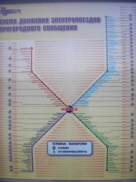 Minsk Suburban Train Map