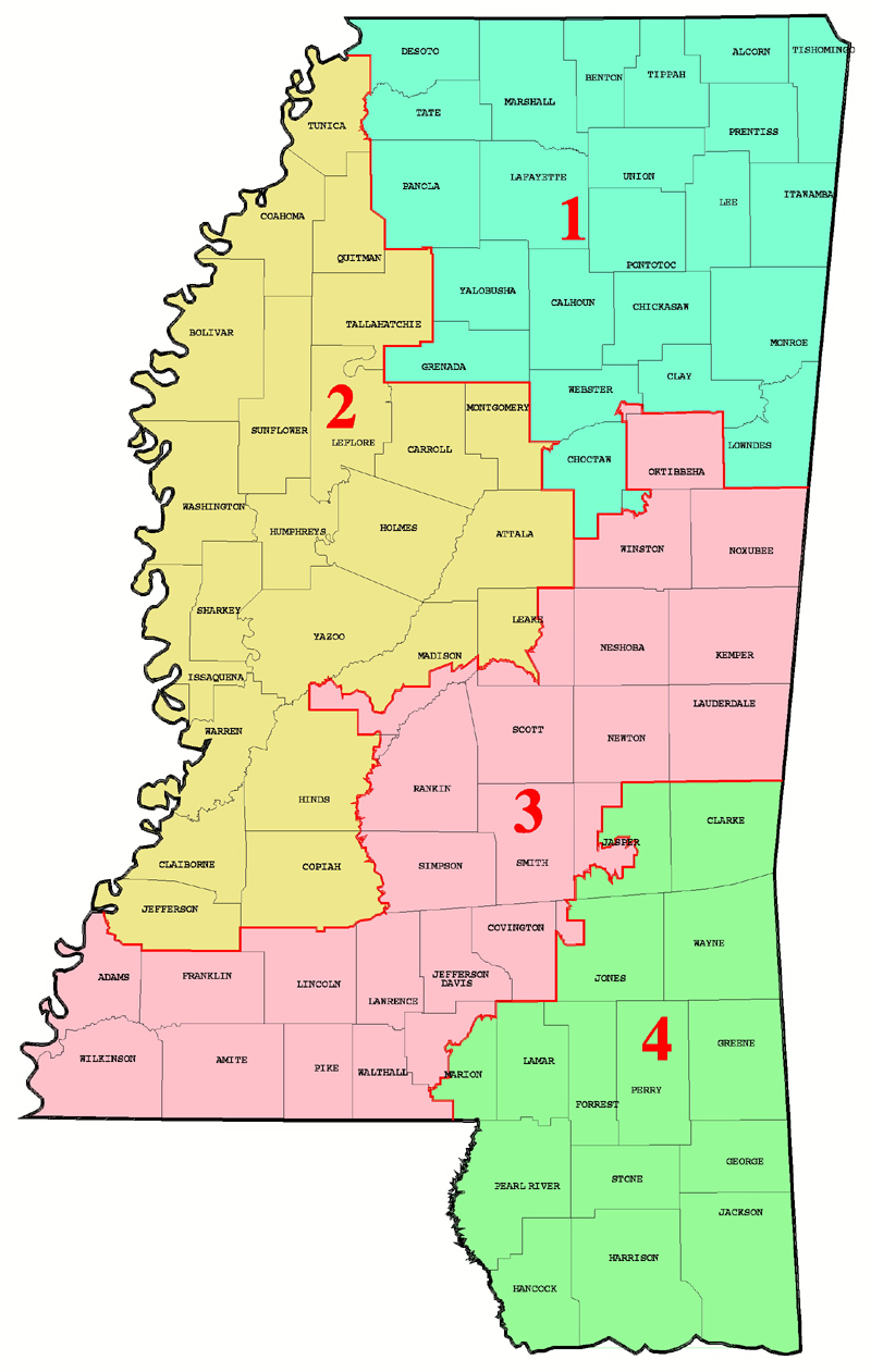 Mississippi Congressional Map  Mississippi  Mappery