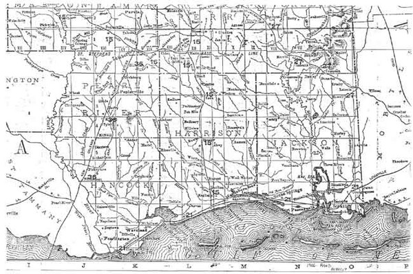 Mississippi Gulf Coast counties, 1906 Map