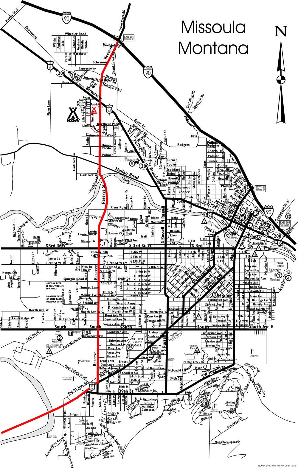 Missoula Montana City Map Missoula MOntana Mappery - City map of montana