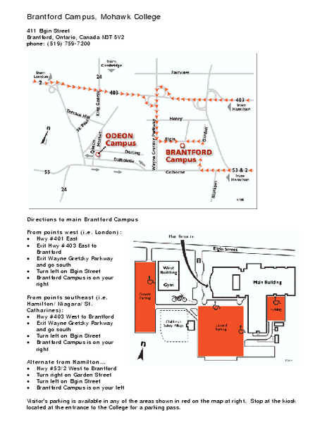 Mohawk College - Brantford Campus Map