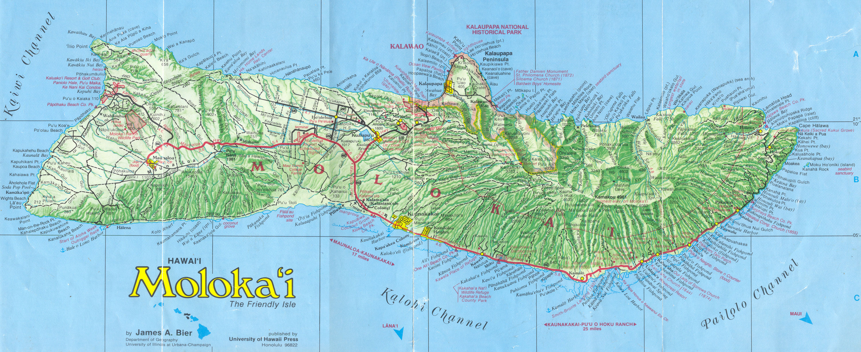 Molokai Road Map  Molokai Hawaii  Mappery