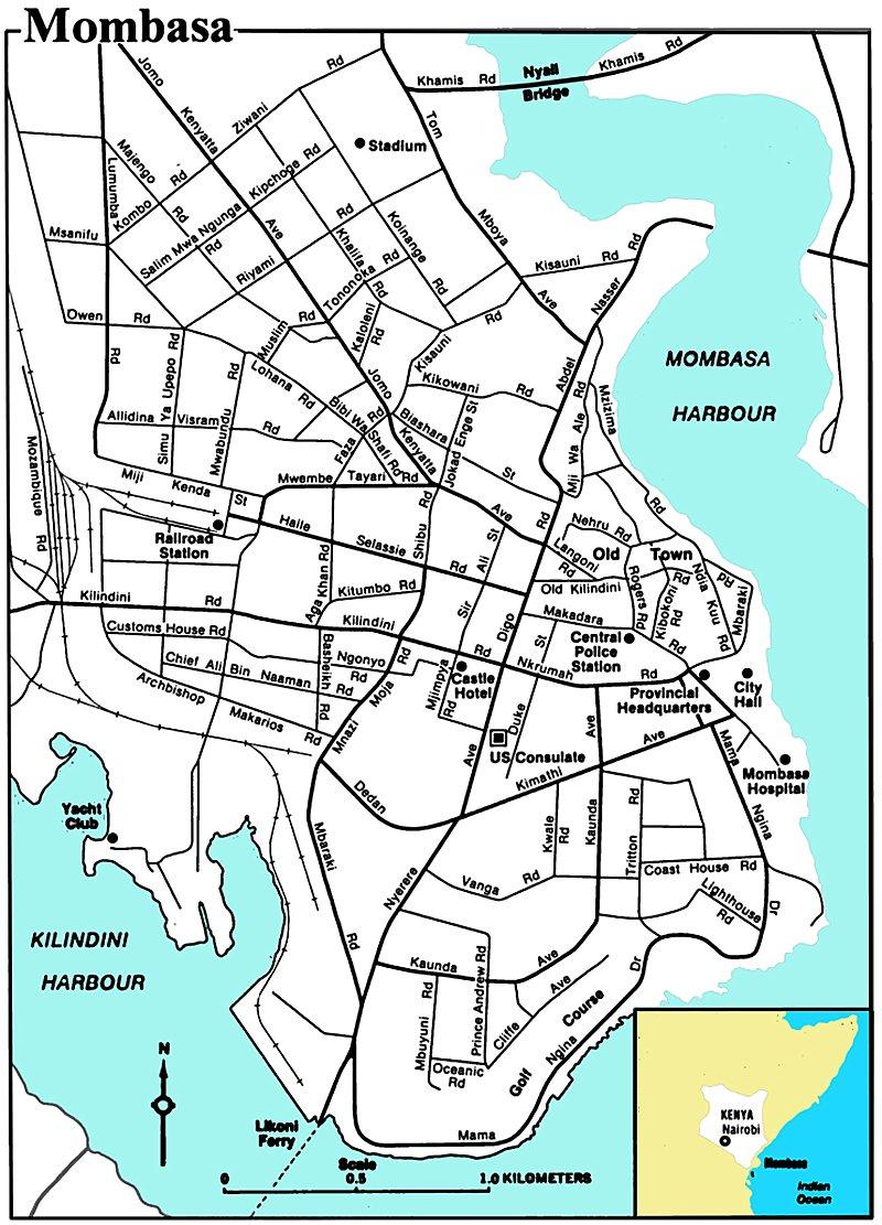 Map Of Mombasa Town Mombasa City Map   Mombasa Kenya • mappery
