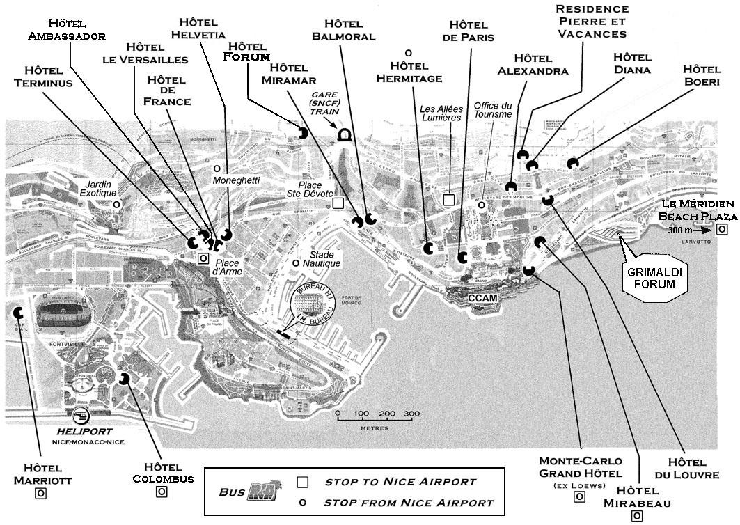 monaco tourist map  monaco • mappery -