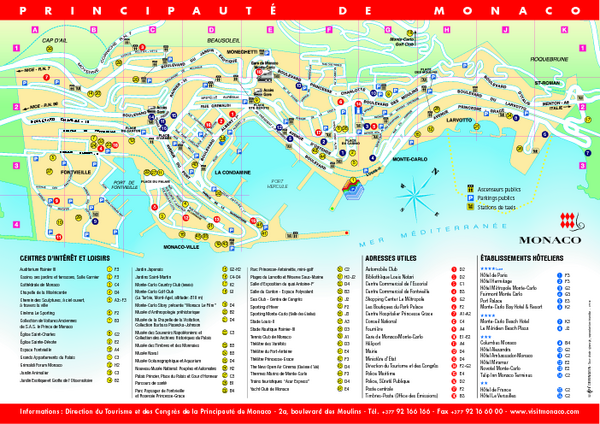 Monaco Tourist Map Monaco mappery