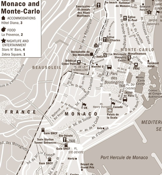 Monaco accomodation Map