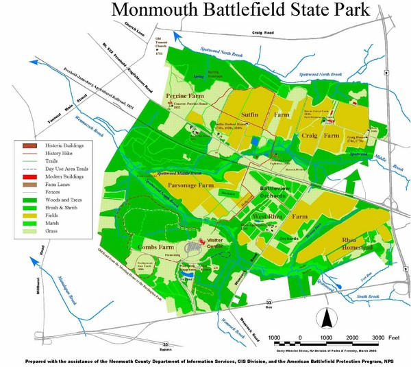 Monmouth Battlefield State Park Map \u2022 Mappery: Allaire State Park Trail Map At Codeve.org