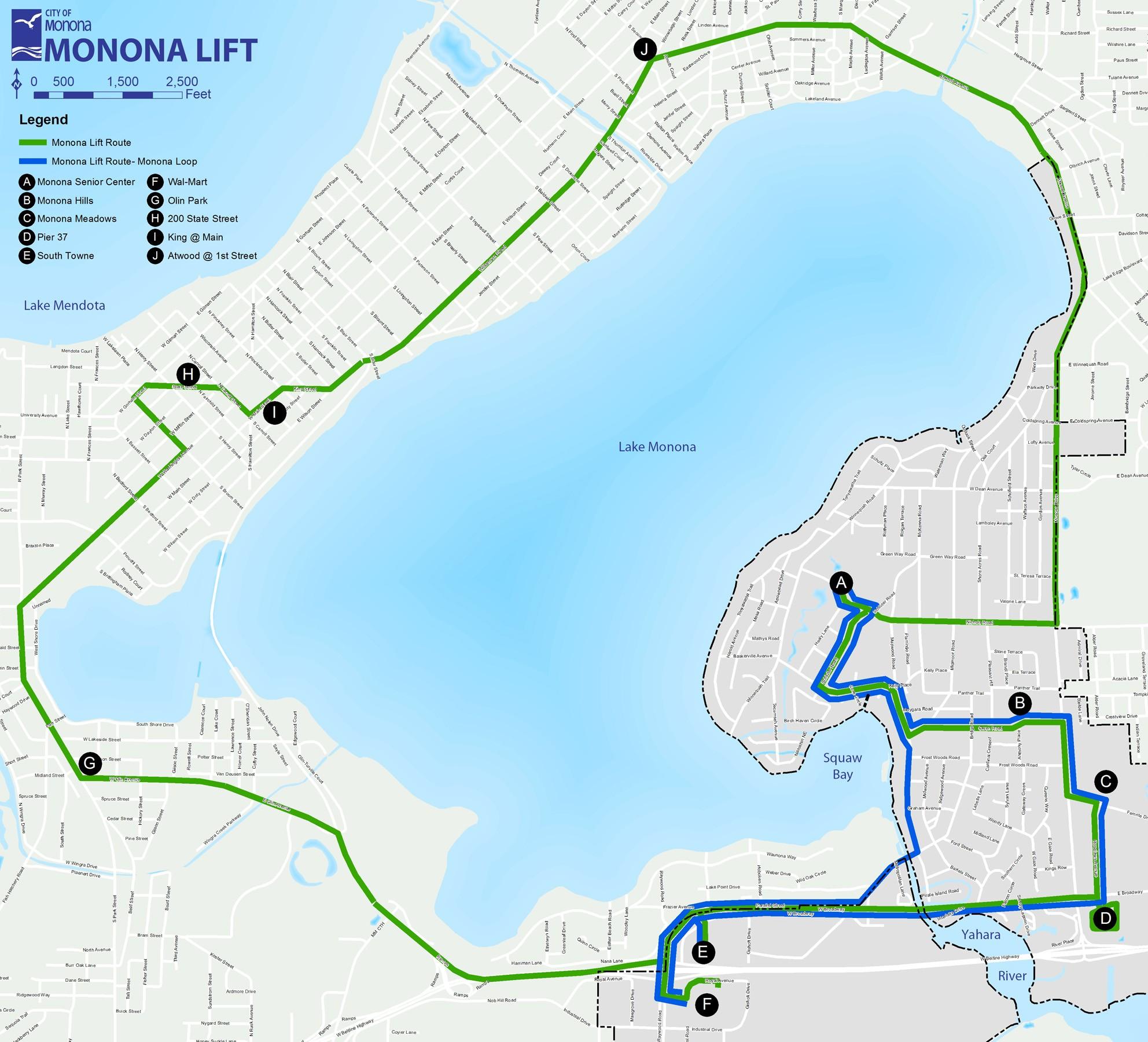 Monona Lift Bus Route Map Monona Wisconsin Mappery - Us bus routes map