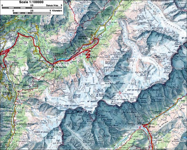 Mont Blanc topographic map chamonix france mappery – Topographic Map of Belgium