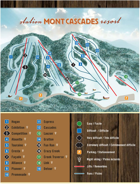 Mont Cascades Ski Trail Map