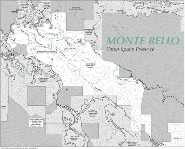 Monte Bello Open Space Preserve Map Monte Bello Open Space