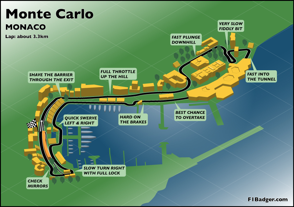 Monaco Monaco  City pictures : Monte Carlo Grand Prix track Map