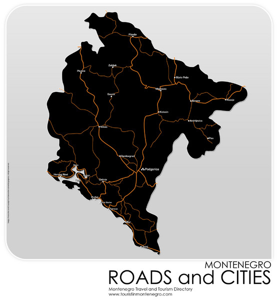 Montenegro Roads and Cities Map