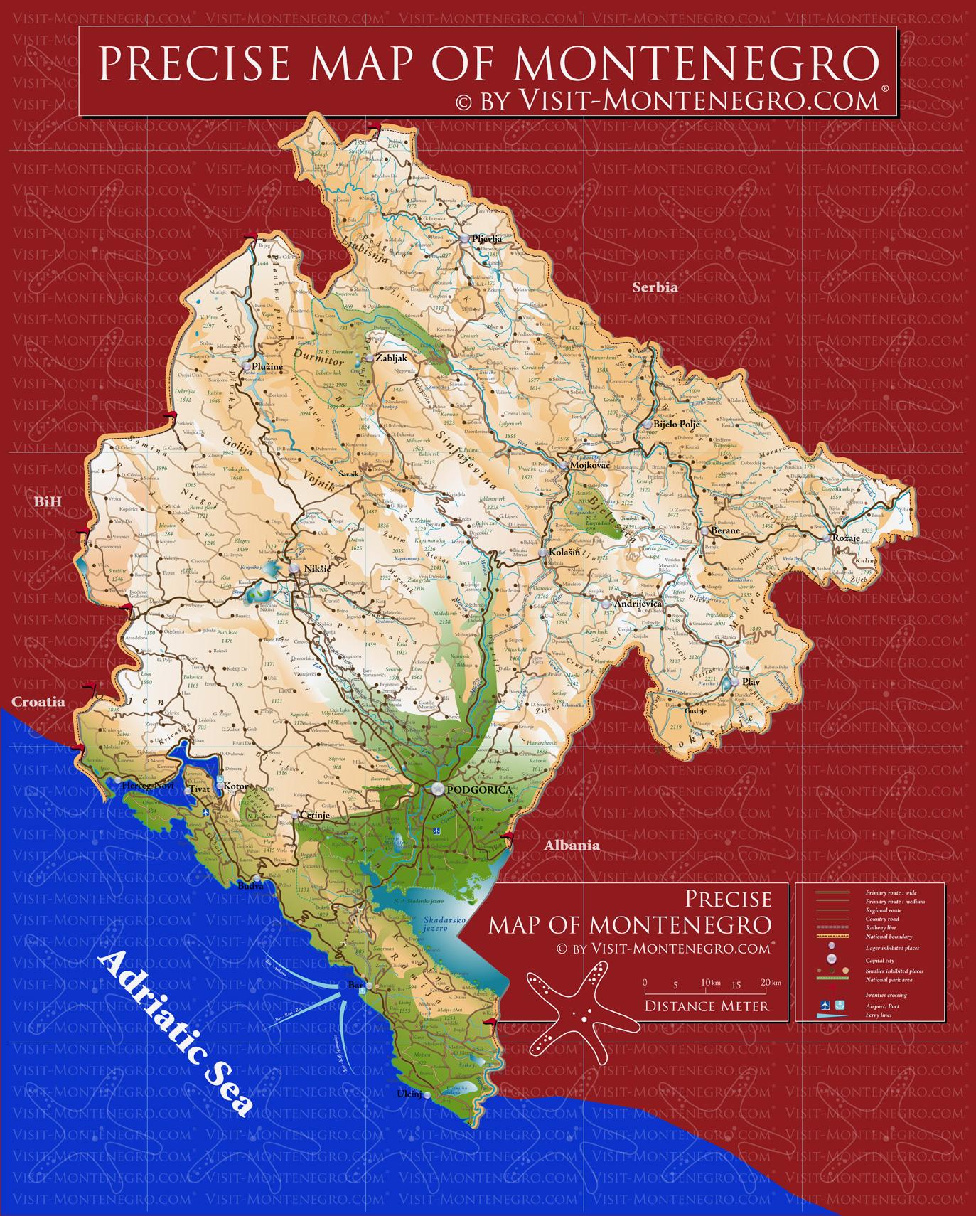 Montenegro Precise Map