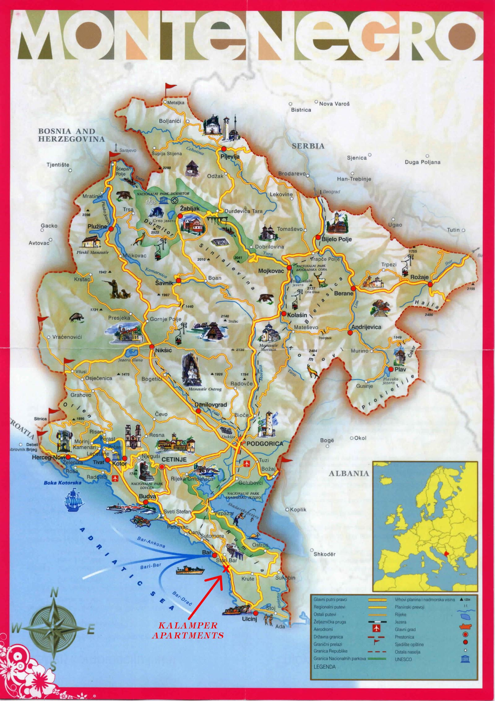 Montenegro tourist Map mappery