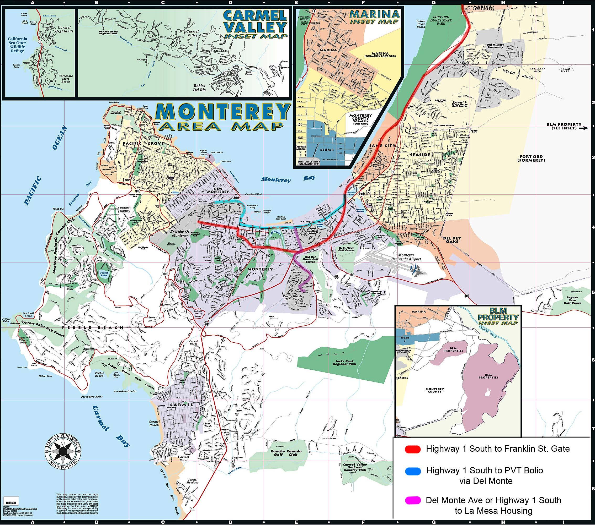Monterey Area Map  Monterey CA  mappery
