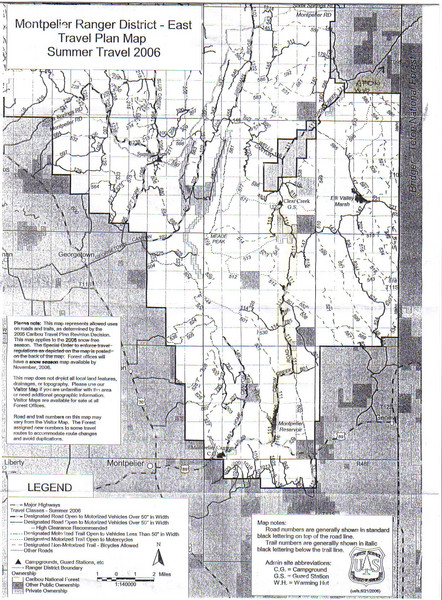 Montpelier Ranger District East Map Montpelier wyoming mappery
