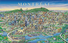 Montreal Downtown pictorial Map