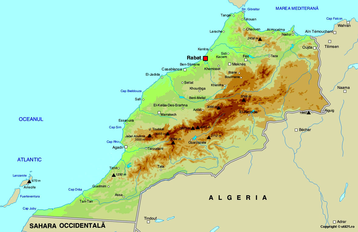 Morocco Physical Map Mappery - Map of morocco