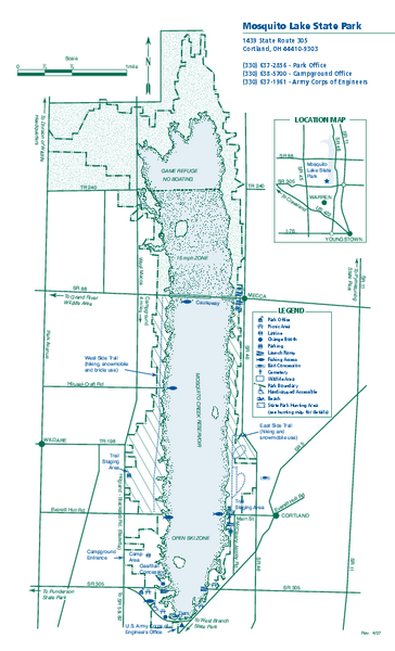 Mosquito lake state park map cortland ohio 44410 9303 for Mosquito lake fishing