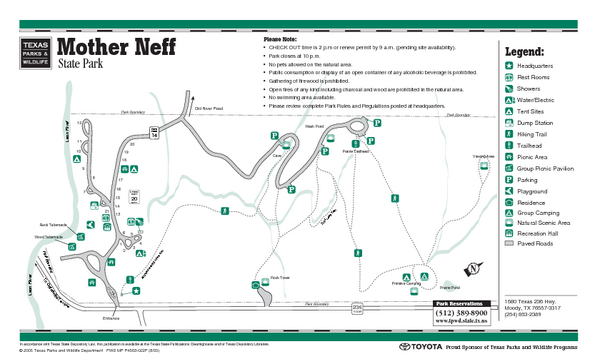 Mother Neff, Texas State Park Facility and Trail Map