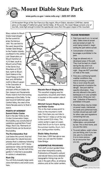 Mount Diablo State Park Campground Map