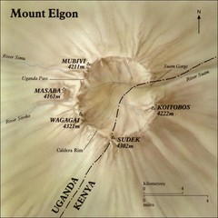 Mount Elgon shaded relief Map