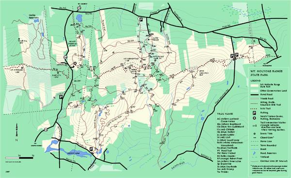 Mount Holyoke Range State Park Map Amherst Ma Mappery