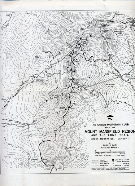 Mount Mansfield Map - Green Mountains Vermont • mappery