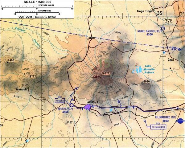 Mount Meru Topographic Map Arusha Tanzania mappery