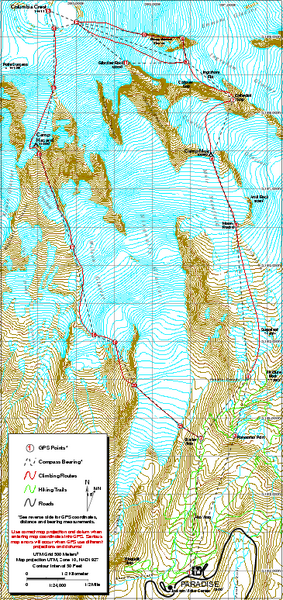 Mount Rainier Paradise Climbing Route map