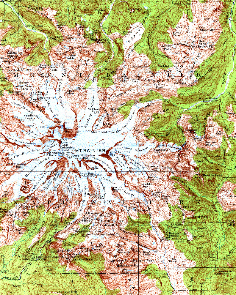 Mount Rainier Topographic Map Mount Rainier WA US Mappery - Map of us mount ranier