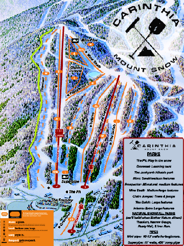 Mount Snow Carinthia Terrain Park Ski Trail Map