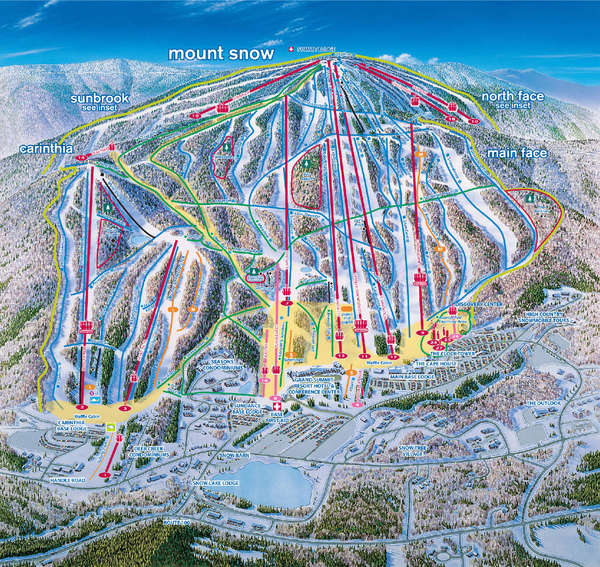 Mount Snow Ski Trail Map - main face