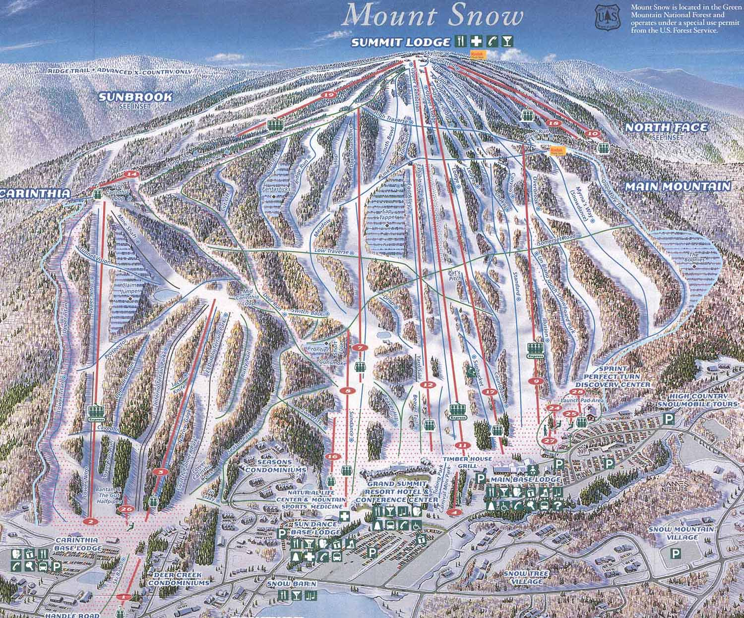 . mount snow trail map   west dover vt  • mappery