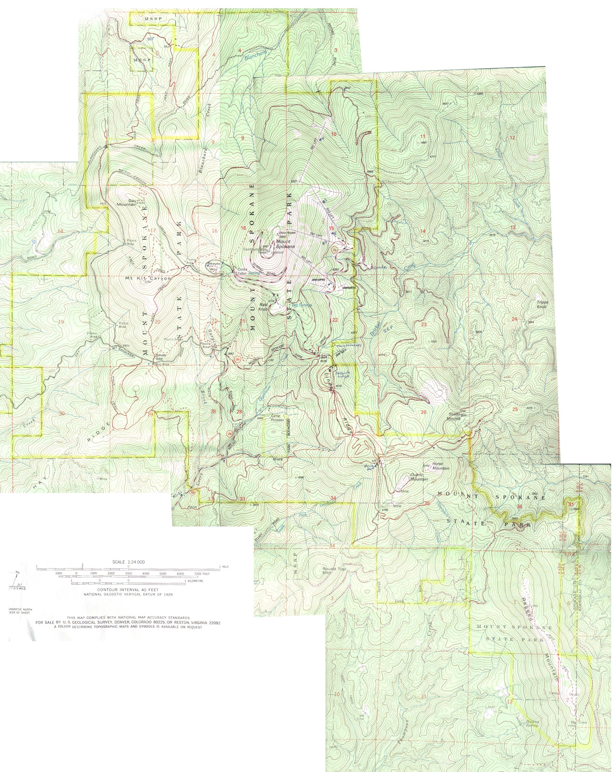 Mount Spokane Trail Map  Mount Spokane  Mappery