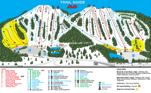 Mount St. Louis/ Moonstone Ski Trail Map