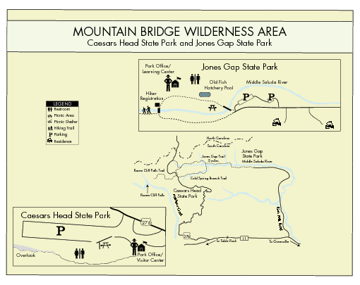 Mountain Bridge Wilderness Area Map - Caesar039s Head