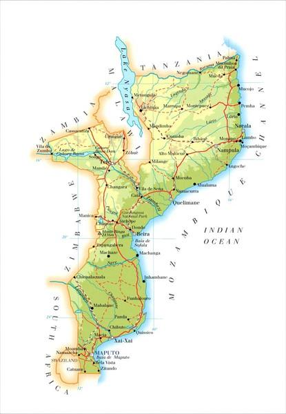 Mozambique Political Map mozambique mappery