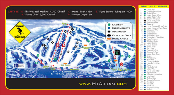 Mt. Abram Ski Resort Ski Trail Map