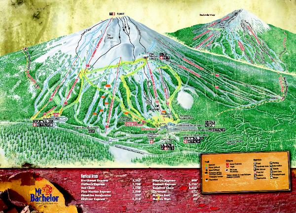 Bachelor Ski Trail Map Poster Mt