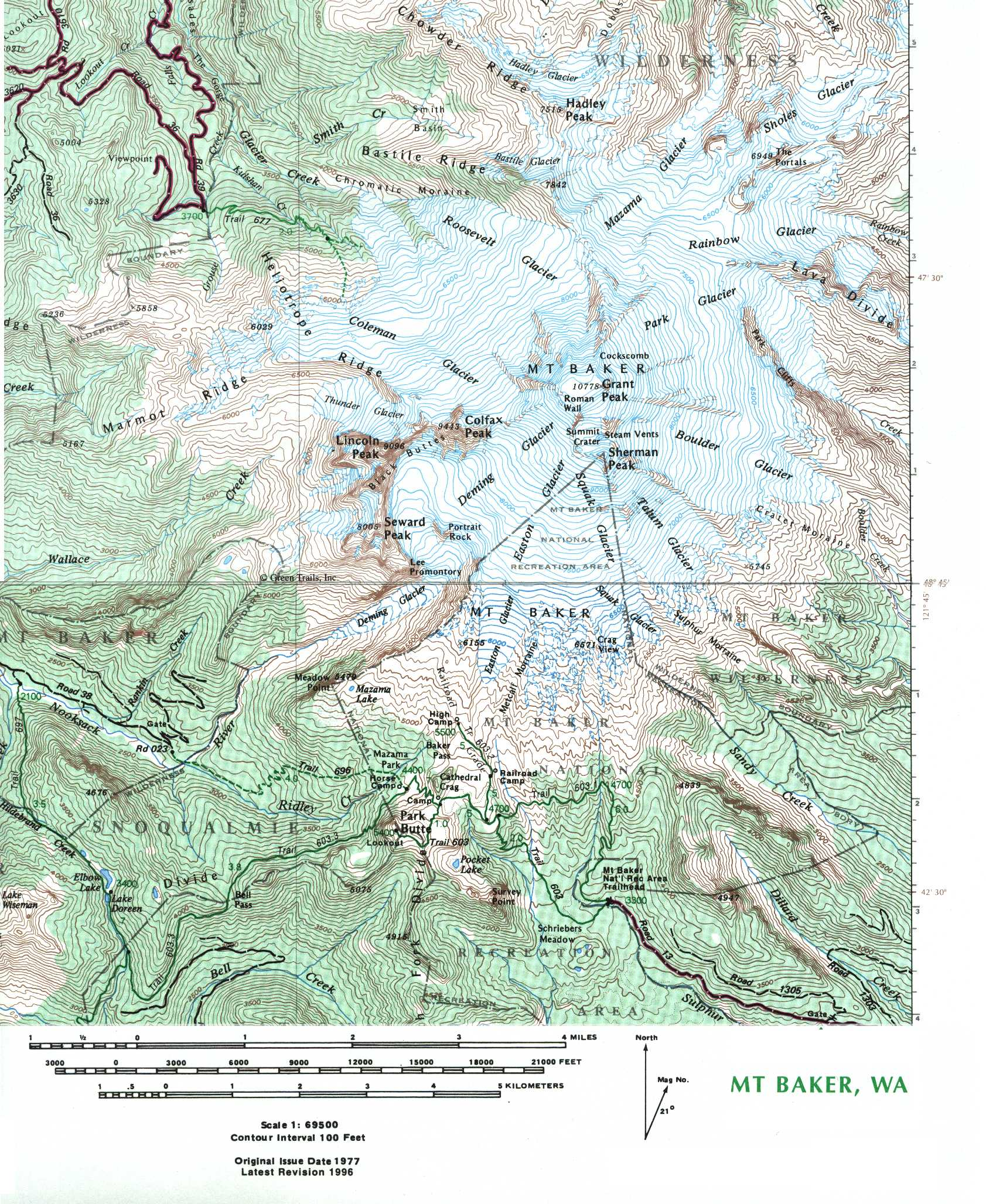 Mt Baker Topo Map - Mt Baker Washington • mappery