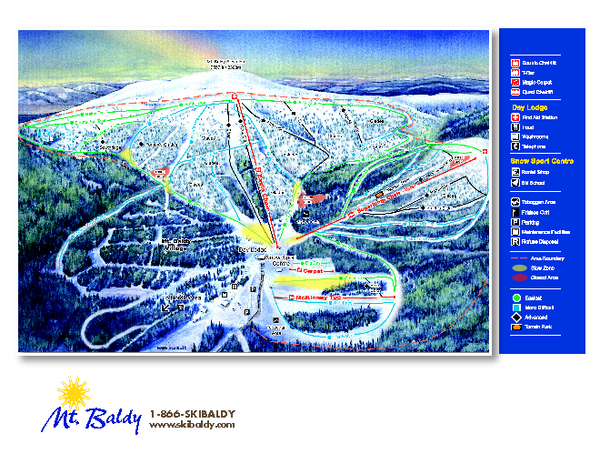 Mt. Baldy Family Ski Area Ski Trail Map