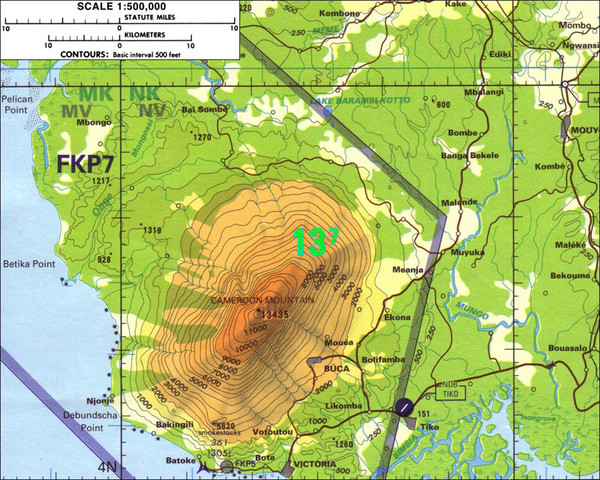 Elevation Map Of Africa With Key.Mt Cameroon Topo Map Mt Cameroon Cameroon Mappery