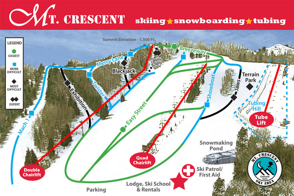 Mt. Crescent Ski Area Ski Trail Map